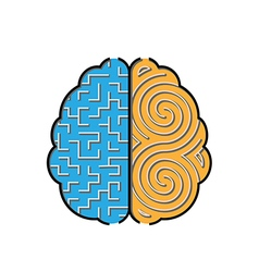 Left and right brain with mazes inside concept vector
