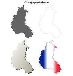 Champagne-ardenne blank detailed outline map set vector