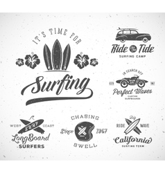 Retro style surfing labels logo templates vector
