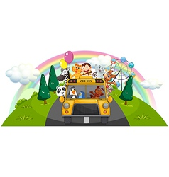 A yellow zoo bus at the road vector