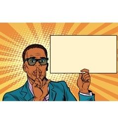 African businessman asking for silence Billboard vector image