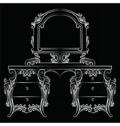 Baroque furniture dressing table and mirror frame vector
