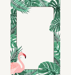 border frame green tropical leaves pink flamingo vector image