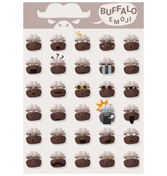 Buffalo emoji icons vector