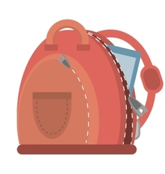 Cartoon pink bag student school vector