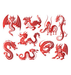 chinese asia red dragon animal silhouettes on vector image