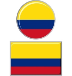 Colombian round and square icon flag vector