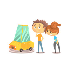 Couple buying car together colorful character vector