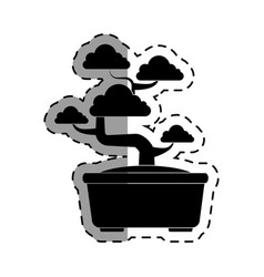 Cute bonsai tree icon vector