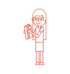 cute school girl with glasses holding book student vector image vector image