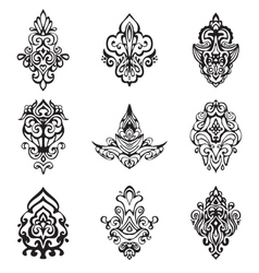 damask floral designs vintage set vector image