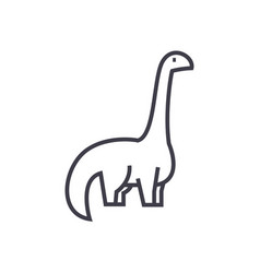 dinosaurdiplodocus line icon sign vector image