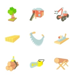 Firewood icons set cartoon style vector