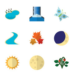 Flat icon bio set of tributary canadian pond and vector