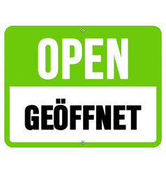 Geoffnet sign in black and green vector image vector image