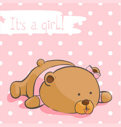 Greeting card with a bear cub on a pink background vector