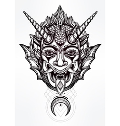Hand drawn portrait of a horned moon deamon vector