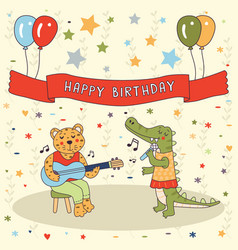 Happy birthday animals band cute greeting card vector