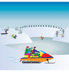 Happy family on a snowmobile christmas vacation vector