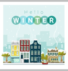 Hello winter cityscape background 1 vector