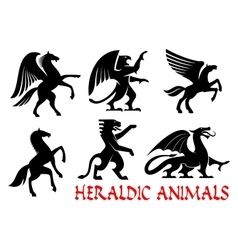 Heraldic animals emblems and icons vector image vector image
