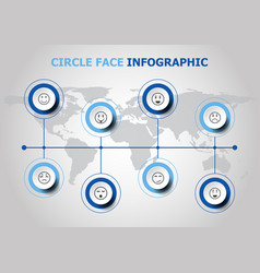 Infographic design with circle face icons vector