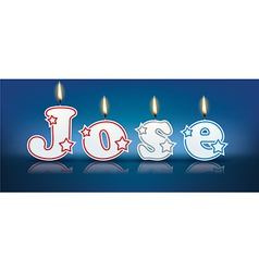 Jose written with burning candles vector