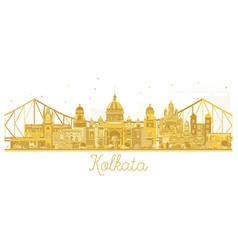 Kolkata india city skyline golden silhouette vector