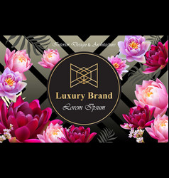 luxury brand card with realistic flowers vector image vector image