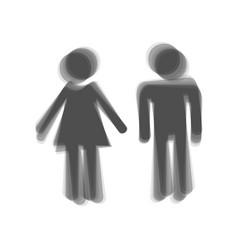Male and female sign gray icon shaked at vector