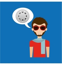 Man hipster concept movie cinema film reel icon vector
