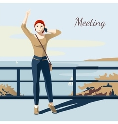 Meeting girl vector