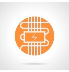 Orange electric warm floor round icon vector image