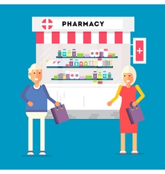 Pharmacy pensioners characters vector