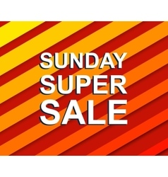 Red striped sale poster with sunday super sale vector