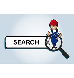 Service search plumber boy cartoon vector image vector image