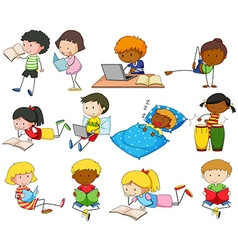 Set of boys and girls doing different activities vector