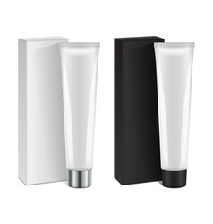 set of plastic tube with cap and box for vector image