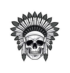 Skull of native american warrior drawing vector
