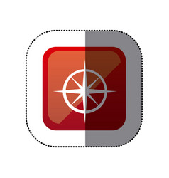 Sticker color square with compass icon vector