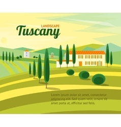 Tuscany rural landscape with houses banner vector