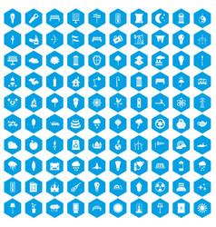 100 street lighting icons set blue vector