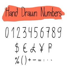 Handwritten simple numerals set vector