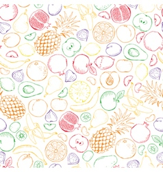 Fruits doodle with color outline seamless vector