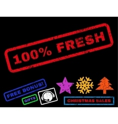100 percent fresh rubber stamp vector