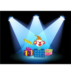 Gift boxes with spotlights vector