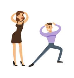 Couple dancing modern dances on the dancefloor vector