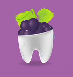 Grape tooth mixed dental symbol vector