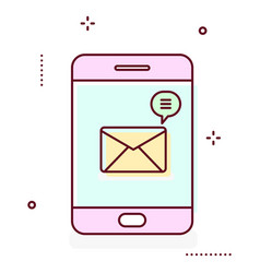 smartphone line icon with message notification vector image