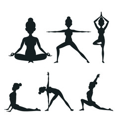 Set woman different posture yoga vector